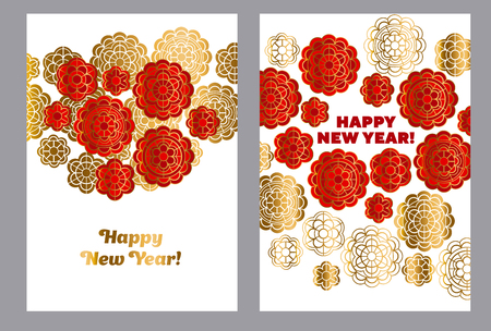 Red and gold pattern in china style. Vector illustration for card, invitation, Chinese New Year celebration. china yew year poster