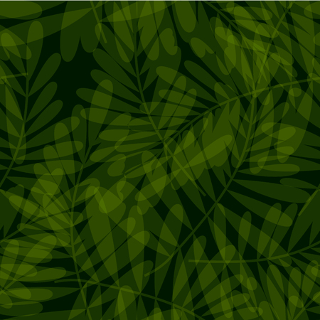 Green tropical seamless pattern vector illustration for card, invitation, poster, header. Exotic dark forest leaves motif for surface design, fabric, wrapping paper.