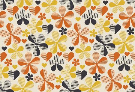 Retro orange et jaune laisse laisse feuille de couleur . géométrique motif floral sans soudure. illustration vectorielle Banque d'images - 94300890