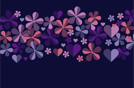 Abstract floral pattern for header and surface design. Spring blossom flowers in violet and purple colors. Vector geometric illustration. Illusztráció