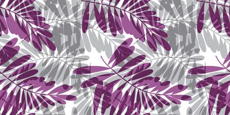 Grijze en violette tropische naadloze patroon vectorillustratie voor kaart, uitnodiging, affiche, kopbal. Exotisch bosbladerenmotief voor oppervlakteontwerp, stof, inpakpapier.