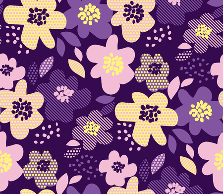 Luxury floral seamless pattern with geometric texture in deep violet and pale yellow color. Abstract spring blossom for fabric wrapping paper, web and print surface design. Иллюстрация