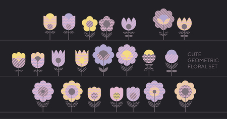 Tender violet spring color floral abstract motif in retro style with geometric texture. Cute decorative flower design elements set for card, poster, web and print surface design.