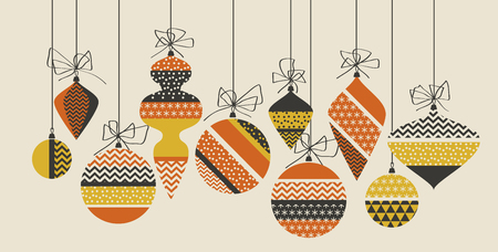 Geometric xmas bauble pattern vector illustration in retro 60s style. Vintage 1970s Christmas balls abstract motif in hot orange and yellow colors fo invitation, header, poster, cover.   イラスト・ベクター素材