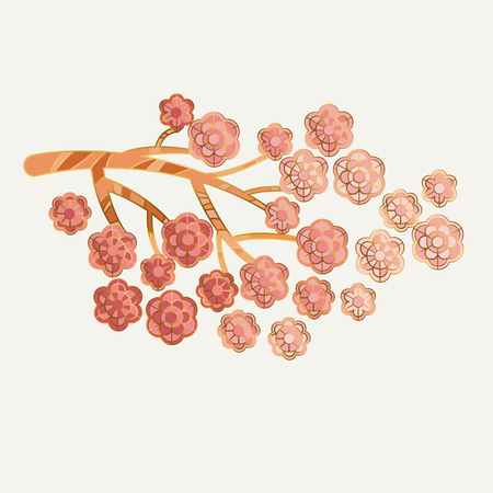 Pale blossom elegant floral pattern for wedding projects, spring invitation. vector illustration with geometric decorative sakura or almond flowers in minimal jewelry style.