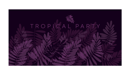 Violet purple tropical pattern vector illustration for card, invitation, poster, header. Exotic forest leaves motif for surface design,
