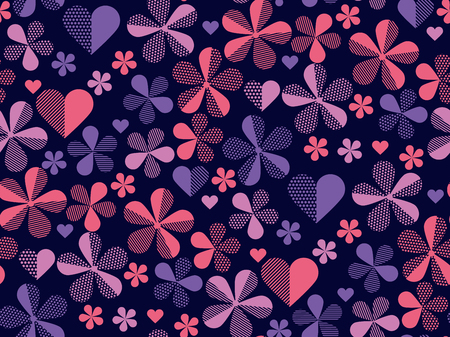Floral violet geometric abstract pattern