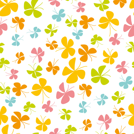 Abstract scattered butterfly background for baby shower, fabric, wrapping paper, package. Colorful floral summer style seamless pattern. Vector illustration for fun kid surface design.