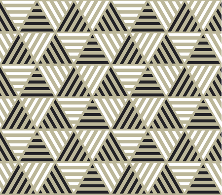 Triangle geometry backdrop with stripes for web and print. Black, white and beige color geometric pattern for surface design.