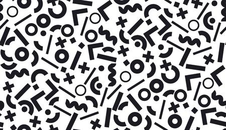세련 된 멤피스 기하학적 원활한 패턴을 영감을. 패브릭, 포장지, 배경, 웹 및 인쇄용 우아한 반복 가능 모티브.