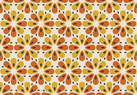 Retro orange und gelbe Farbe 60er Jahre Blumenmotiv. Geometrisches nahtloses mit Blumenmuster. Vektor-Illustration