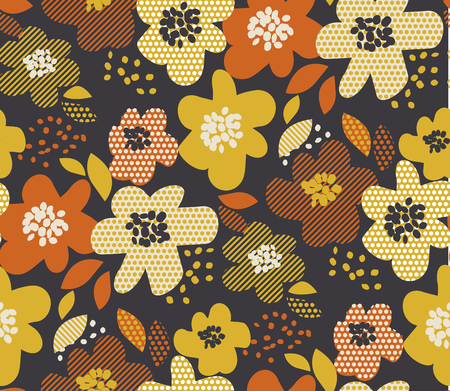 Simple free drawn floral seamless pattern. Retro 60s flower motif in fall orange and yellow colors. vector illustration. Çizim