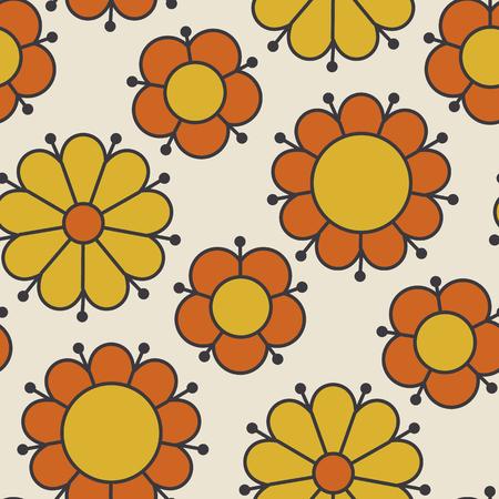 Motivo floreale retrò anni '60 di colore arancione e giallo. Motivo floreale senza soluzione di continuità geometrica. illustrazione vettoriale