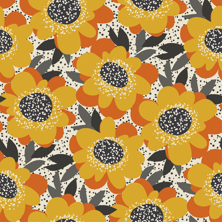 Simple free drawn floral seamless pattern. Retro 60s flower motif in fall orange and yellow colors. vector illustration. Illusztráció