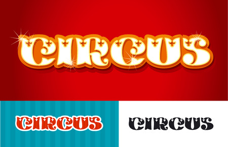 Circus word title vector illustration in vintage retro decorative style. Circus typography illustration. Ilustração
