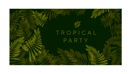 Green tropical pattern vector illustration for card, invitation, poster, header. Exotic forest leaves motif for surface design, Illustration