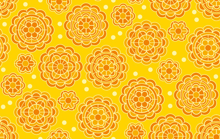 Yellow geometric floral pattern in Indian style. Vector illustration for background, fabric, wrapping paper. India traditional marigolds floral in decorative abstract style.