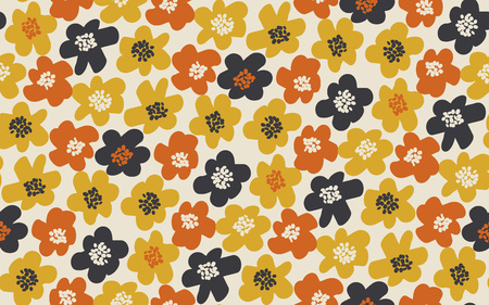 Simple free drawn floral seamless pattern. Retro 60s flower motif in fall orange and yellow colors. vector illustration. 向量圖像