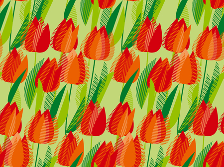 Elegant seamless pattern with geometric decorative red tulip flowers, design elements. Abstract modern vivid floral motif for surface design.