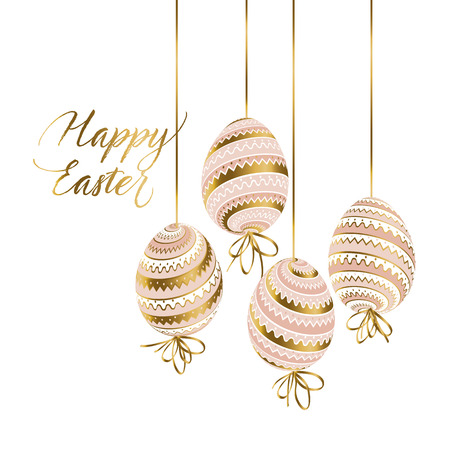Elegant gold and pastel color easter eggs. luxury style stock vector illustration. for card, invitation, web and print projects.