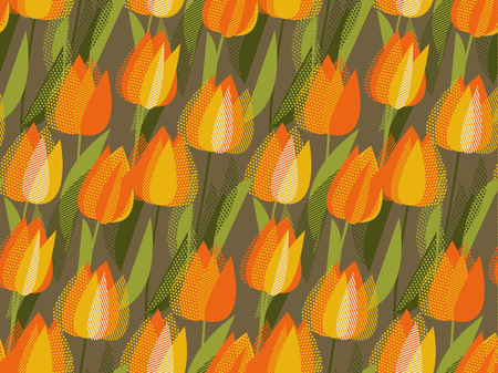 Floral seamless pattern for fabric, wrapping papaer. Yellow tulip spring floral design element. Bright flower vector illustration in vintage colors.  イラスト・ベクター素材