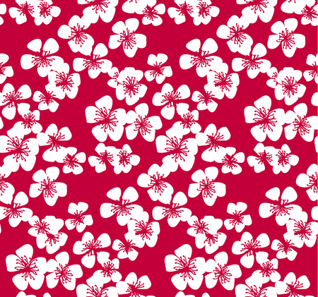 Red pattern with white sakura flower. Stock vector illustration. Abstract floral decorative design element for pattern, background, wrapping paper and fabric.