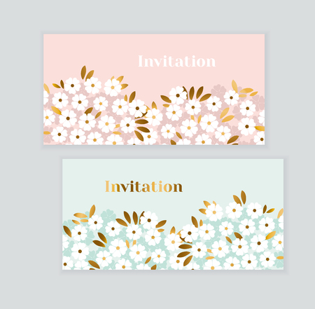 Gold and pastel green spring flowers invitation cards set vector illustration