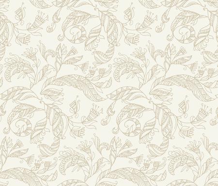 Decorative angel's feathers seamless pattern. Boho hand drawn stock vector illustration.