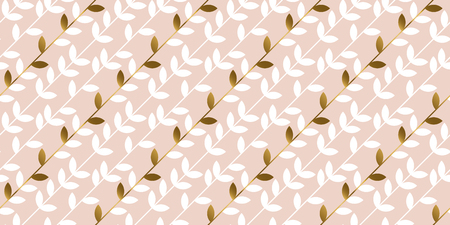 Elegant gold and pale rosy leaf seamless pattern. Simple luxury style stock vector illustration. For background, wrapping paper, fabric.