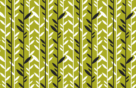 simple flat tropical bamboo pattern in green color. nature floral stock vector illustration. concept seamless pattern. summer adventure background
