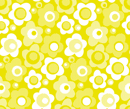 lime color stylized floral seamless pattern. abstract white daisy flowers repeatable motif. stock vector illustration for wrapping paper, fabric, background