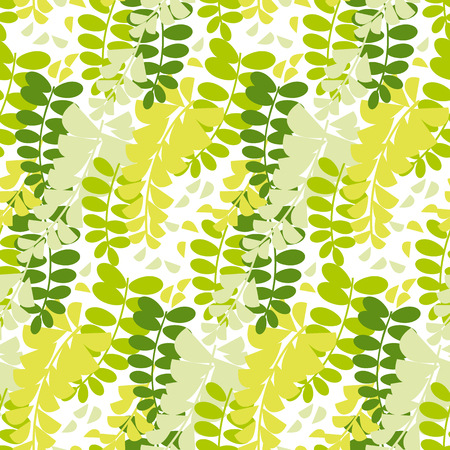 spring acacia blossom seamless pattern. white asia flower repeatable motif for background, fabric, wrapping paper. floral stock vector illustration. Illustration