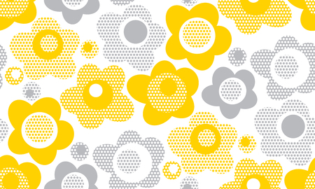 tender gray and yellow floral seamless pattern. abstract naive daisy flowers repeatable motif on white background. stock vector illustration for wrapping paper, fabric, backdrop