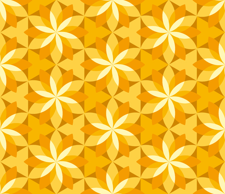 sunny yellow floral geometric seamless pattern. abstract concept floral asia-style repeatable motif for background, fabric, wrapping paper. floral stock vector illustration.