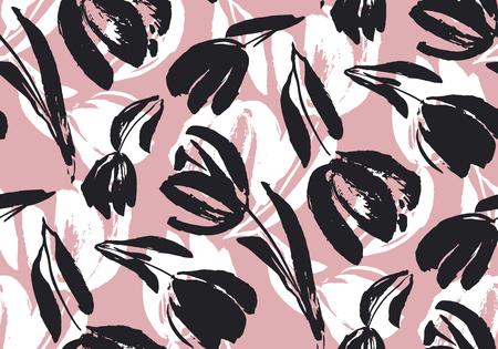 Hand gezeichnetes nahtloses Muster der blassen Tulpe für Hintergrund, Stoff, Geschenkpapier. Stock Template Design. Naturflache Frühlingsblumenmotiv in rosa und schwarzer Farbe.