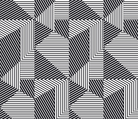 complex geometric stripes seamless pattern. abstract geometry lines repeatable motif for background, fabric, wrapping paper. complex stock vector illustration.
