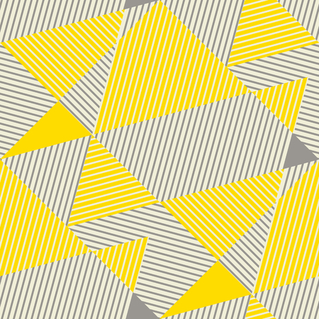 yellow and gray vintage geometric seamless pattern. abstract geometry lines repeatable motif for background, fabric, wrapping paper. complex stock vector illustration.