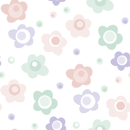 cute baby style floral pattern in pastel color. naive pale color geometric repeatable motif for background, for background, fabric, wrapping paper. flower stock vector illustration.