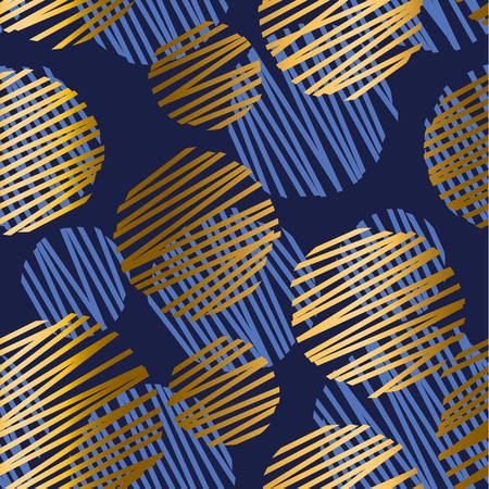 Abstract geometric luxury seamless pattern with round bouble elements. Geometry vector repeatable motif for fabric, background, wrapping paper. gold and blue backdrop.