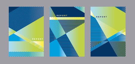 Concept modern blue and green geometric cover template. Geometry stripes and triangle business style design element. Poster, flayer, header vector template set.