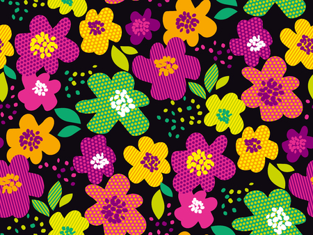 Abstract tropical color floral seamless pattern. Tropical color violet and pink flowers repeatable motif. Night simple elegant stock vector illustration for background, wrapping paper, fabric. Illustration