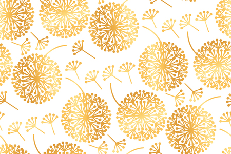 Elegant gold geometric dandelion flowers on white. Abstaract floral abstract repeatable motif in asian style. Stock vector illustration design element.
