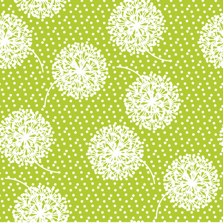 Tender geometric style dandelion flowers seamless pattern. Decorative pale color floral abstract repeatable motif for background, fabric, wrapping paper. Stock vector illustration design element.