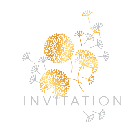 Abstract geometric dandelion flowers. Decorative floral abstract repeatable motif for card, invitation, poster. Stock vector illustration design element.  イラスト・ベクター素材
