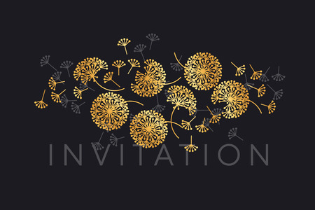 Abstract geometric dandelion flowers. Decorative floral abstract repeatable motif for card, invitation, poster. Stock vector illustration design element. Çizim