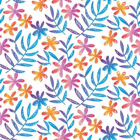 Simple naive hand drawn seamless pattern with tropical leaves and flowers on white. Floral stock vector illustration for background, wrapping paper, fabric, surface design. Endless repeatable motif for surface design.