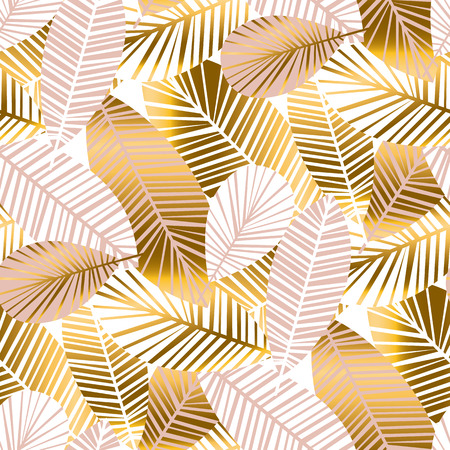 abstract tropisch gebladerte naadloze patroon voor achtergrond, inpakpapier, stof op blauw geruite achtergrond. regenwoud eindeloos herhaalbaar motief voor oppervlakontwerp. voorraad vectorillustratie