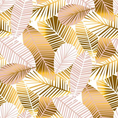Patrón sin fisuras de follaje tropical abstracto para el fondo, papel de regalo, tela sobre fondo azul a cuadros. motivo repetible sin fin de la selva tropical para el diseño de la superficie. ilustración vectorial de stock