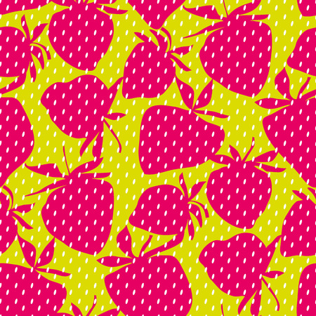 Cool concept strawberry seamless pattern for background, wrapping paper, fabric. Endless repeatable motif for surface design. stock vector illustration  Illustration