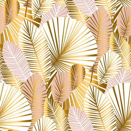 gold and pale rose abstract leaves seamless pattern for background, wrapping paper, fabric on blue checkered background. floral botalical endless repeatable motif for surface design. stock vector illustration